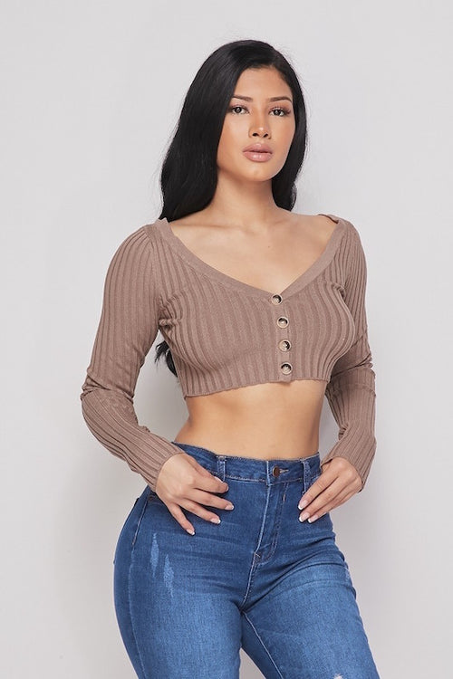 Button Up Long Sleeve Crop Top