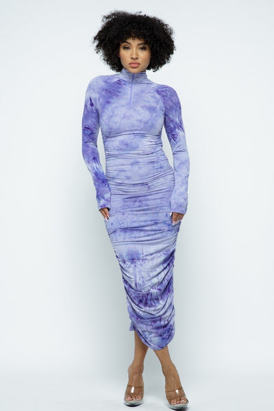 Tie Dye Long Sleeve Ruched Maxi Dress with Front & Back Zipper