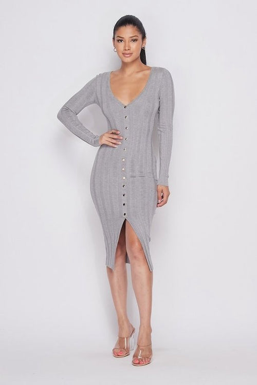 Long Sleeve Ribbed V Neck Button Down Dress