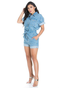 Oversized Romper with Tie Belt