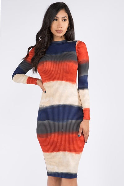 Mock Neck Striped Midi Dress