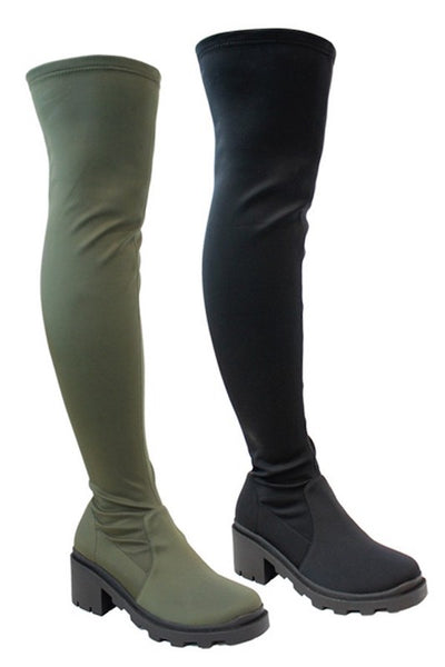 Stretch OTK Boot with Chunky Heel