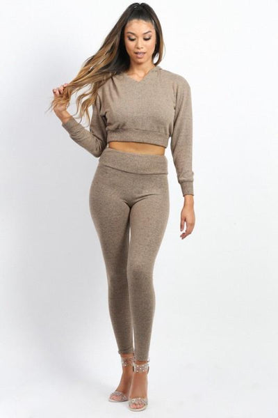 Cropped Hoodie Top Sweat Suit