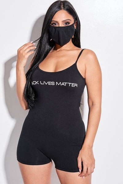 """BLACK LIVES MATTER"" Spaghetti Strap Romper with Mask"