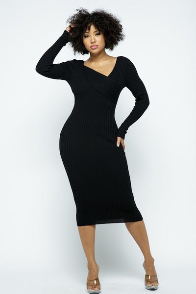 Asymmetric Long Sleeve Midi Dress
