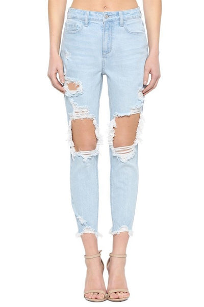 Distressed Skinny Mom Jean with Frayed Hem