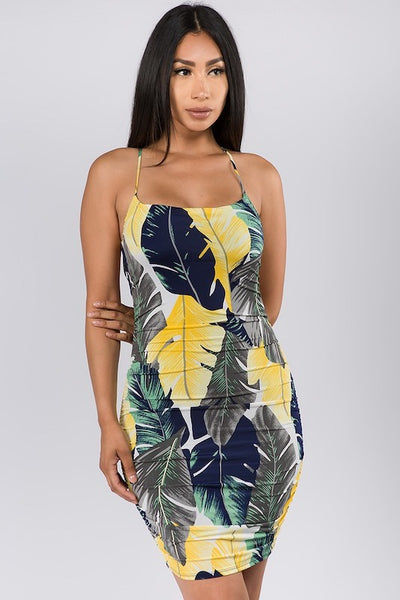 Palm Frond Ruched Mini Dress