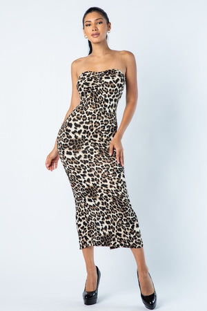 Leopard Long Tube Dress