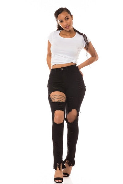 Black High Rise Skinny Ripped Jean