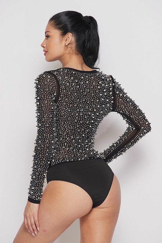 Crystal & Spiked Bodysuit