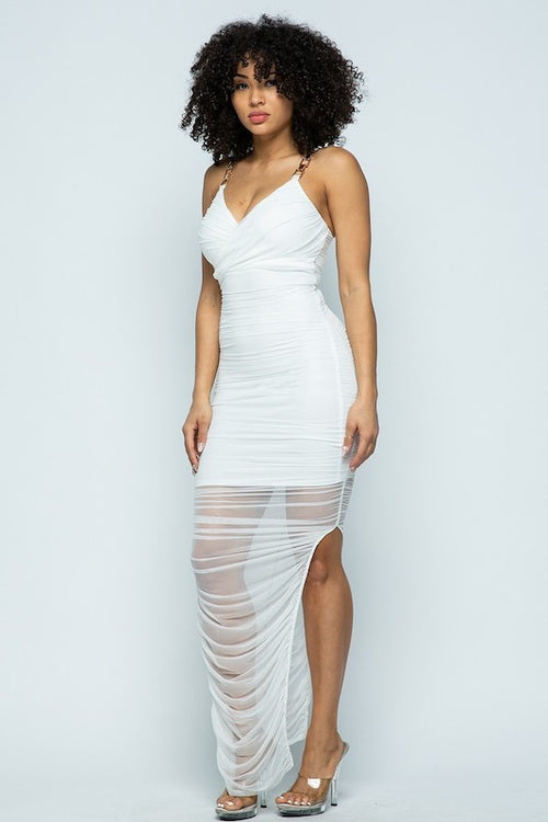 Chain Strap Ruched Dress