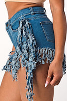 Tassel Design Fringe Distressed Denim Shorts