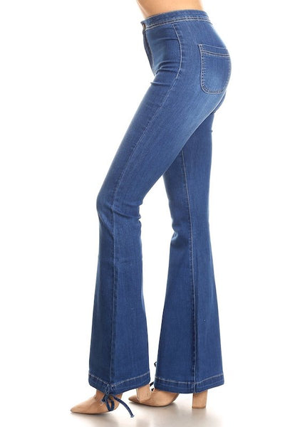 Drawstring Bell Bottom Denim Jeans