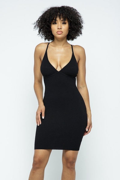 Cross Back Strap Mini Dress