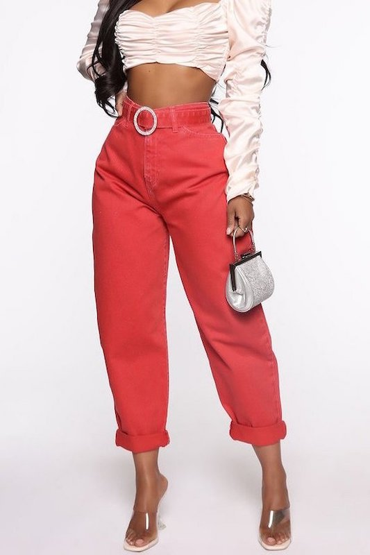 5 Pocket Slouch Denim Pants with Rhinestone Buckle