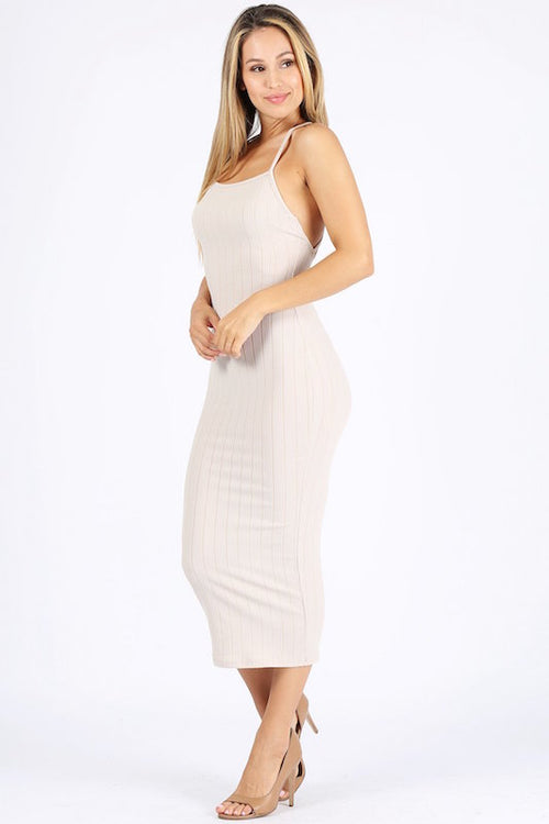 Ribbed Spaghetti Strap Long Dress