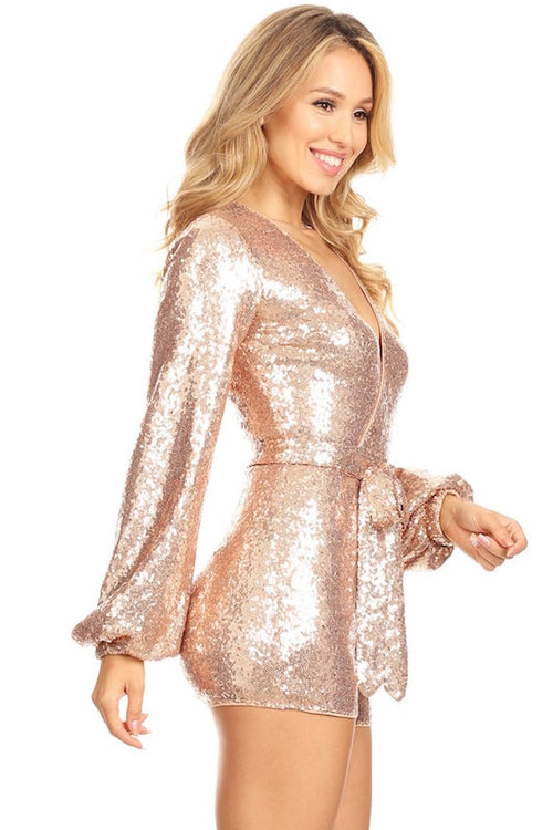 Long Sleeve Sequin Romper