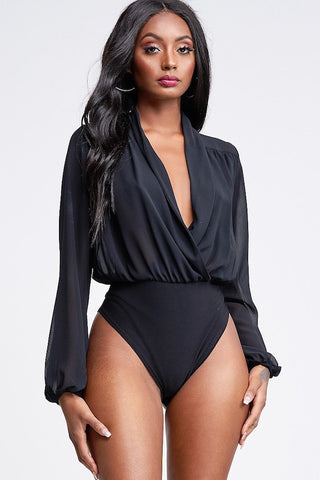 Deep V Neck Chiffon Bodysuit