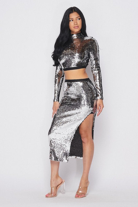 Sequin Long Sleeve Top & Skirt Set