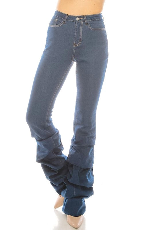 Ruched Denim Jeans