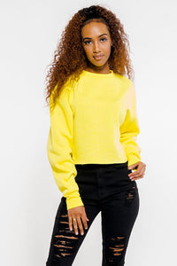 Long Sleeve Fleece Crop Sweatshirt