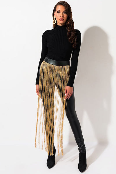 PU Tights with Fringe