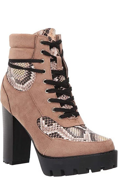 Chunky Heel Snakeskin Lace Up Bootie