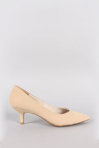 Nubuck Pointy Toe Kitten Heeled Pump