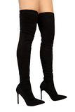 Over The Knee Pointed Toe Boot with Skinny Heel
