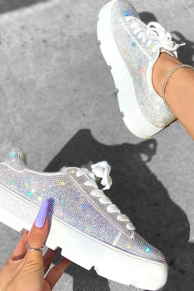 Rhinestone Lace Up Sneaker