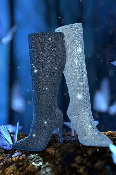 Rhinestone Stiletto Heel Boot