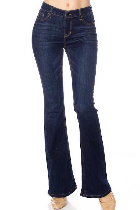 Mid Rise Dark Bell Bottom Jeans