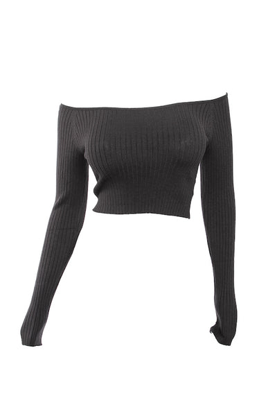 Long Sleeve Soft Ribbed Crop Top