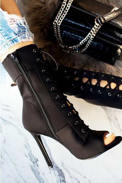 Open Toe Lace up Bootie
