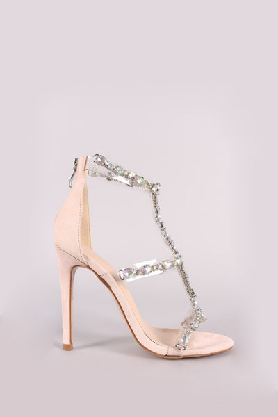 Clear Jewel Embellished T-Strap Stiletto Heel