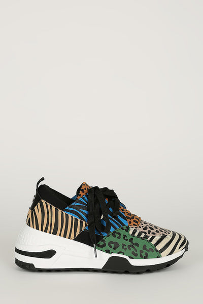 Animal Lace Up Color Block Sneaker