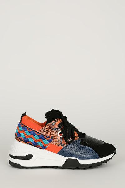 Orange Lace Up Color Block Sneaker