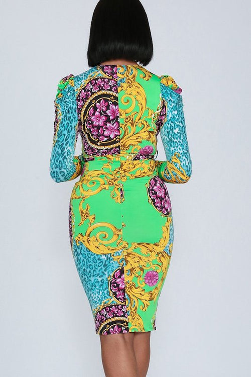 Baroque Print Surplice Puff Shoulder Long Sleeve Dress with Belt