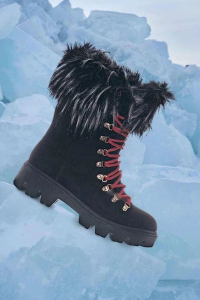 Lace Up Combat Boot With Thick Fur Collar