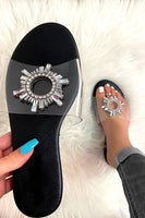 Clear Strap Sandal with Rhinestone Circle
