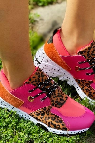 Fuchsia Leopard Lace Up Sneaker