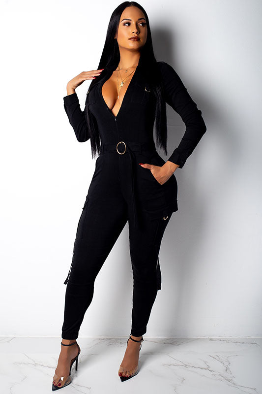 Long Sleeve Cargo Jumpsuit
