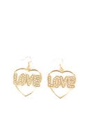 Rhinestone Heart Shape 'LOVE' Earring