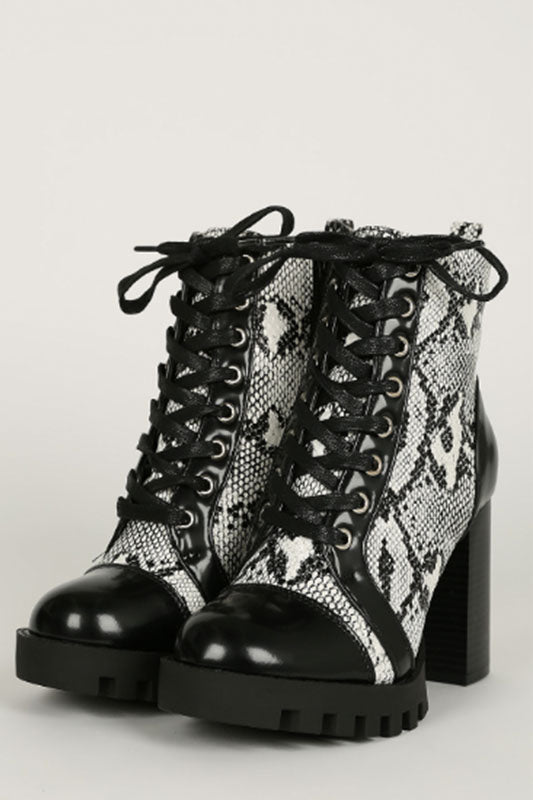 Snake Lace Up Ankle Bootie