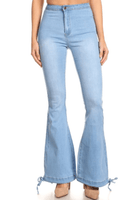 Drawstring Bell Bottom Jeans