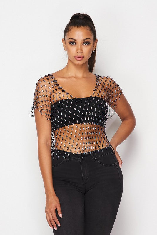 Holographic Jewels Fishnet Top