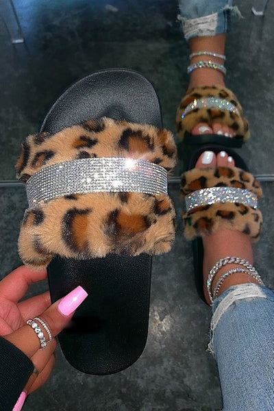 Faux Fur One Band Rhinestone Accent Slide