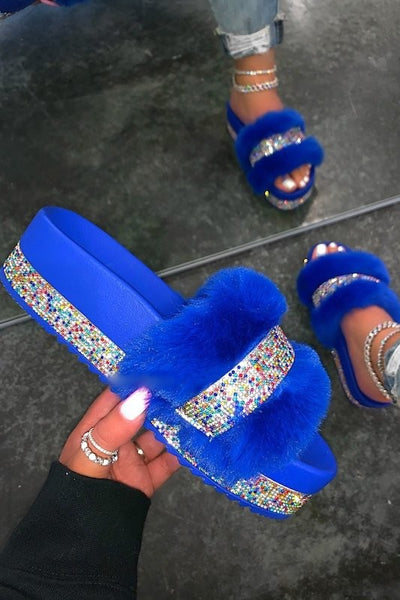 Fur Sandal with Rhinestones