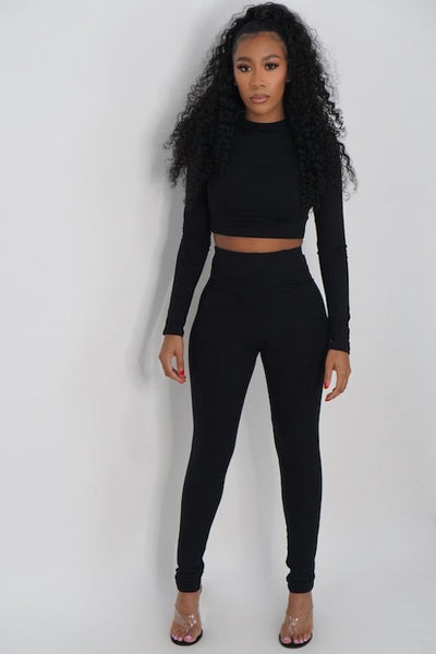 Long Sleeve Crop Top and Legging Set