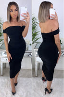 Off Shoulder Midi Lined Dress